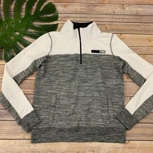 Pink gray and white colorblock pullover sweatshirt